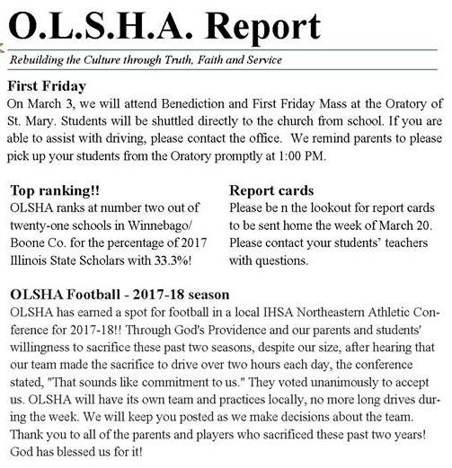 OLSHA Announcement