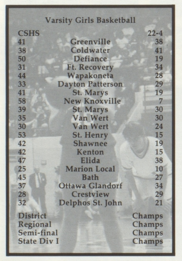 1991 Celina Girls BB scores