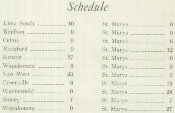 1927 SM Schedule