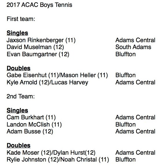 2017 All ACAC Boys Tennis Team