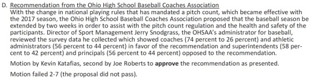 OHSAA Extended Baseball Vote