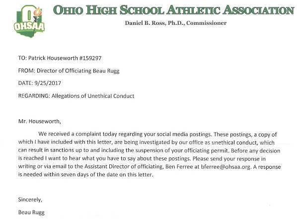 OHSAA letter to Pat Houseworth