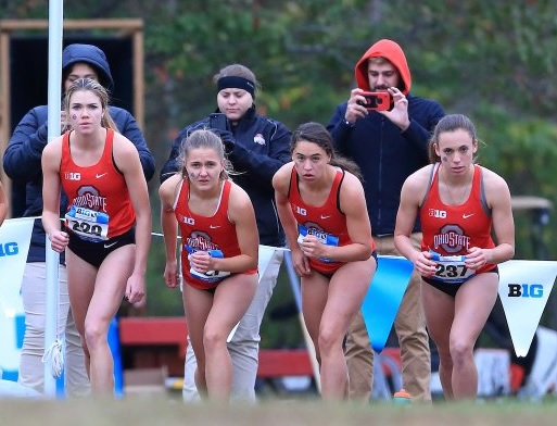 Sarah Kanney (far left) at the strating line Big 10