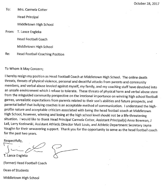 Middletown Coaches Resignation Letter