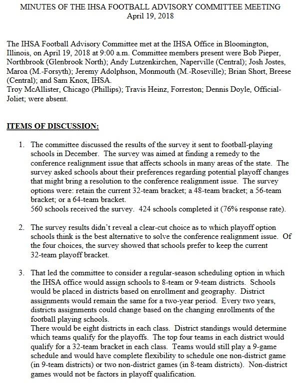IHSA Football Proposal