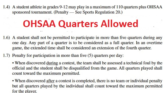 OHSAA Qtrs allowed