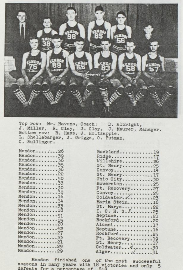 1941 Mendon Boys Basketball Team