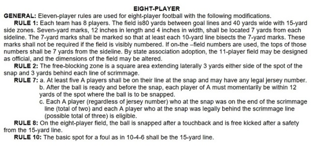8 man football rules