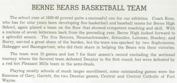 1940 Berne HS Bears 1