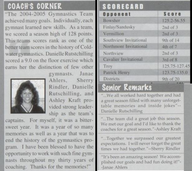 2005 gym coach summary