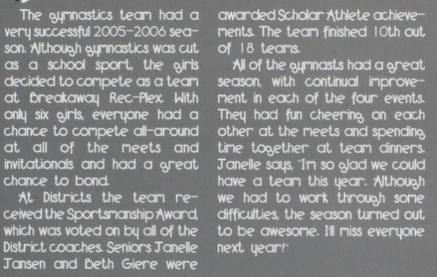 2006 gym summary