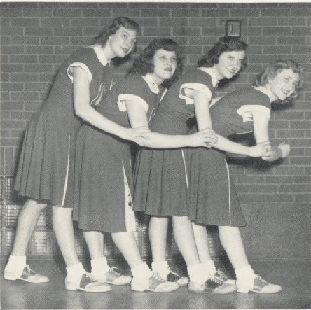 1950 Celina Cheerleaders Betty Lou Davis, Lelah Florence, Ruth Hainline and Joyce Voegele