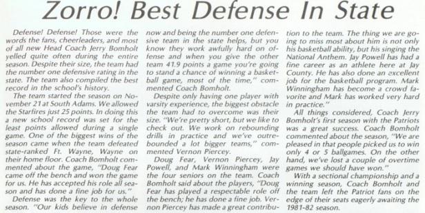 1981 Jay County Patriots Zorro