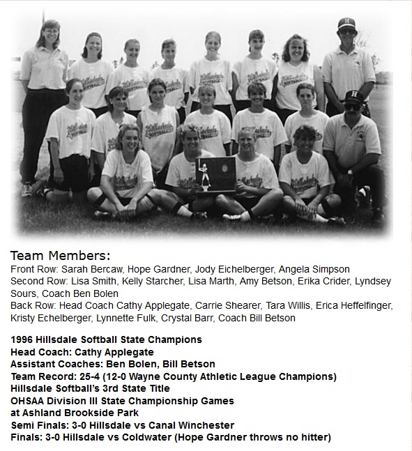 1996 Hillsdale SB Team