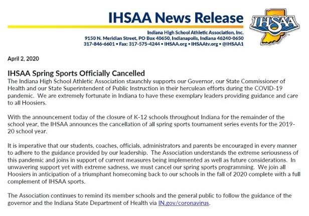 IHSAA statement