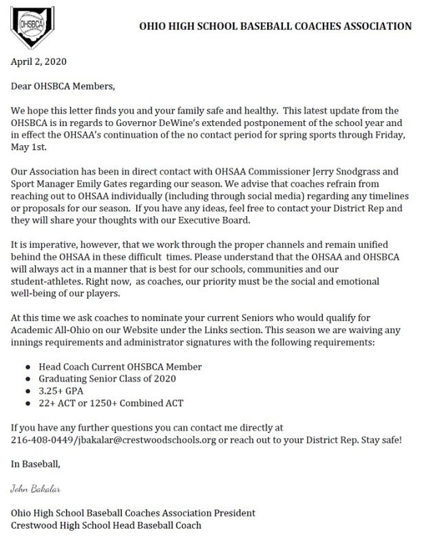 OHSBCA Letter to Coaches