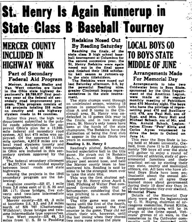 1946 SH Baseball Class B article