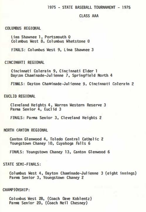 1975 AAA State Baseball Tournament scores