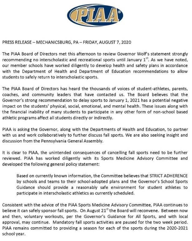 PIAA statement